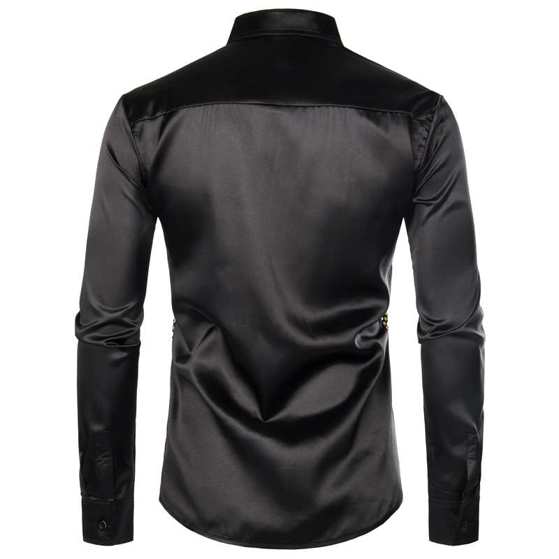 Shiny Gold Sequin Black Silk Dress Shirts Men Long Sleeve Button Down Shiny Disco Party Shirts Male Nightclub Party Prom Chemise Best Selling Product Clothing Men's Clothing MENS SUIT AND JACKET