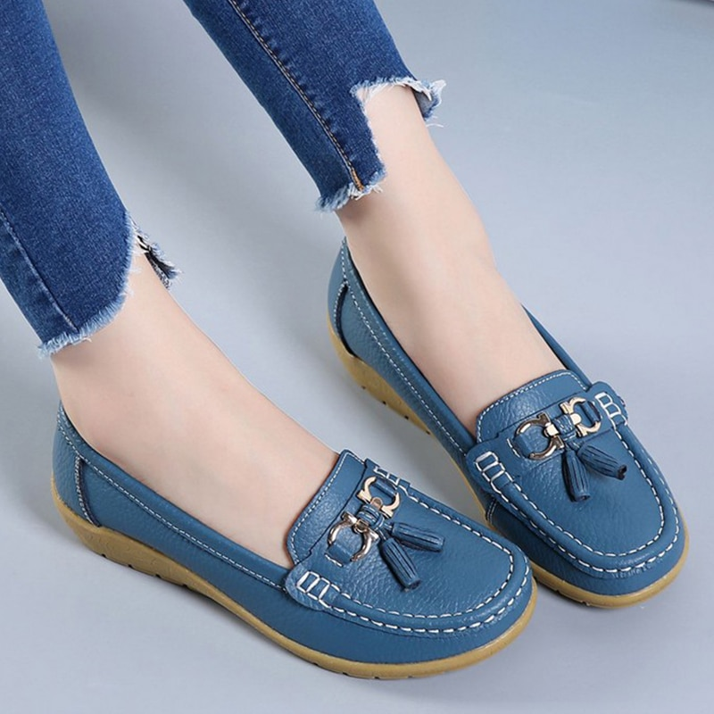 Women Ballet Shoes Flats Cut Out Leather Breathbale Moccains Women Boat Shoes Ballerina Ladies Shoes Shoes Women's Shoes