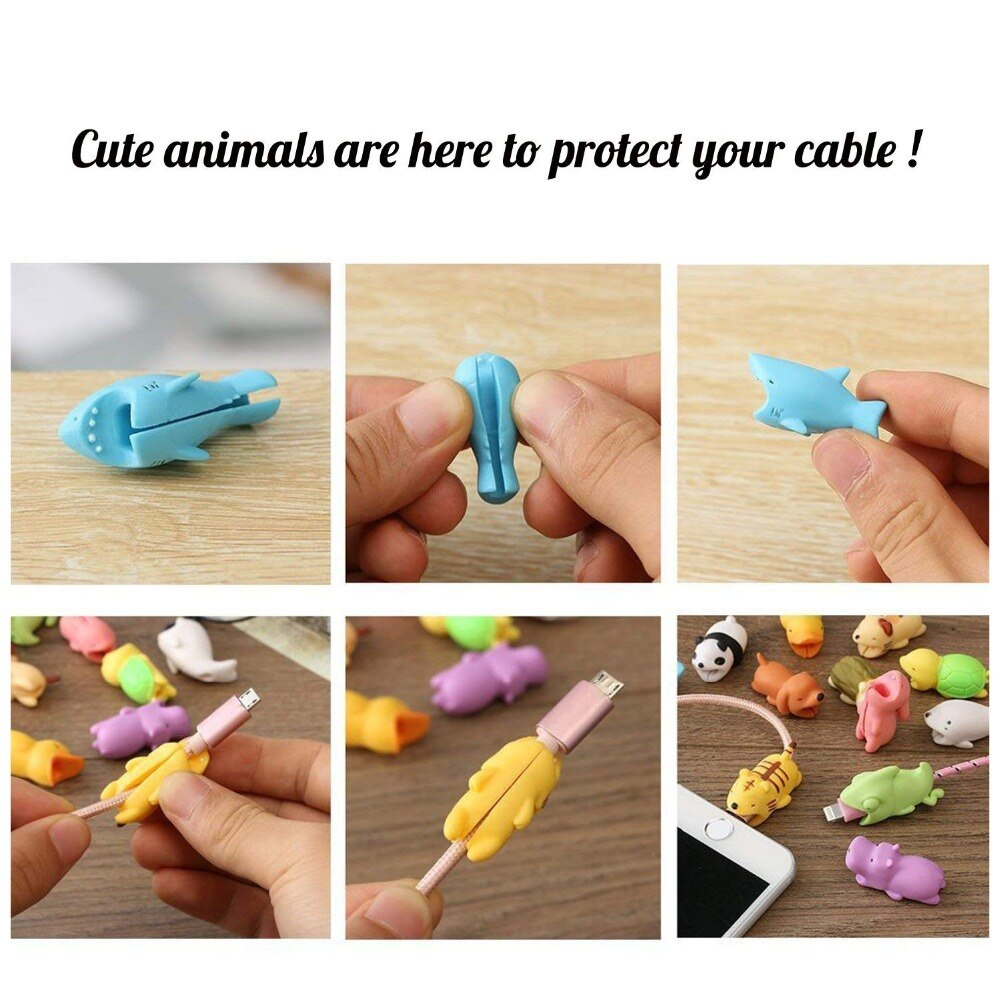 1pcs Animal Cable Protector for iPhone protege cable buddies cartoon Cable bite Phone holder Accessory Iphone Accessories