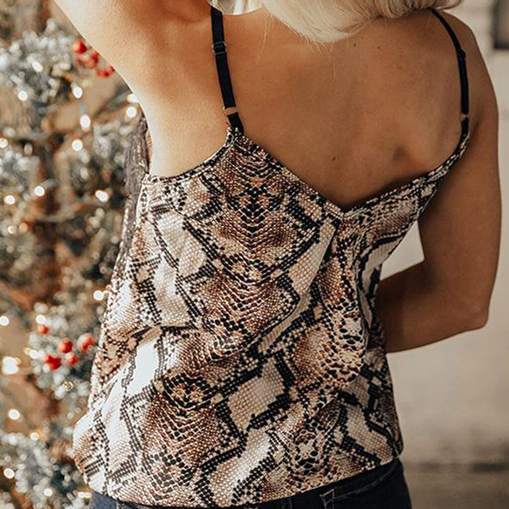 Best Selling Top Ladies Lace Snake Pattern Sling Sleeveless V-Neck Tops Summer Casual Ladies Clothing #BL0 Clothing Women's Clothing