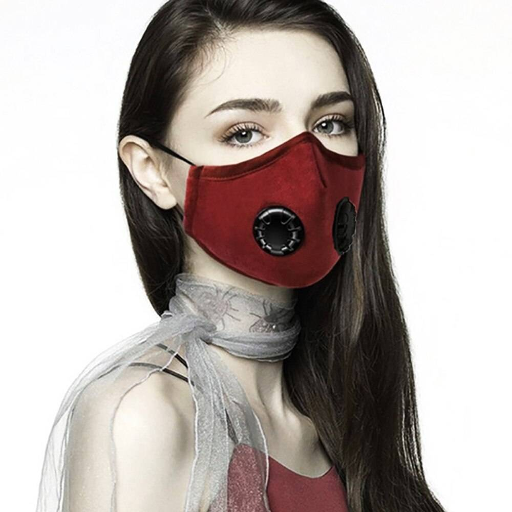Double Valve Mouth Mask With 2 Replaceable Filters Mask Protective Breathable Face Mask Beauty & Health