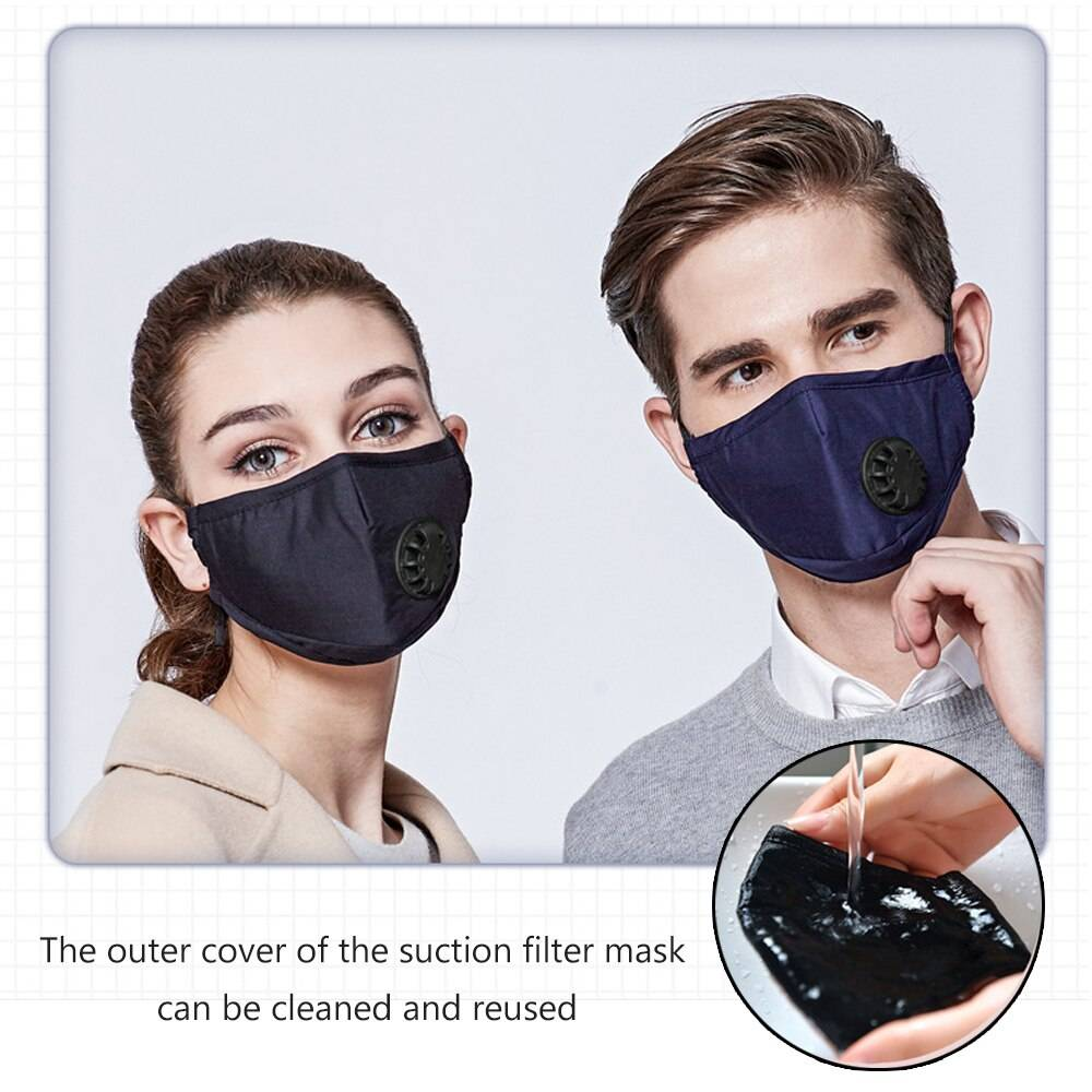 Double Valve Mouth Mask With 2 Replaceable Filters Mask Protective Breathable Face Mask