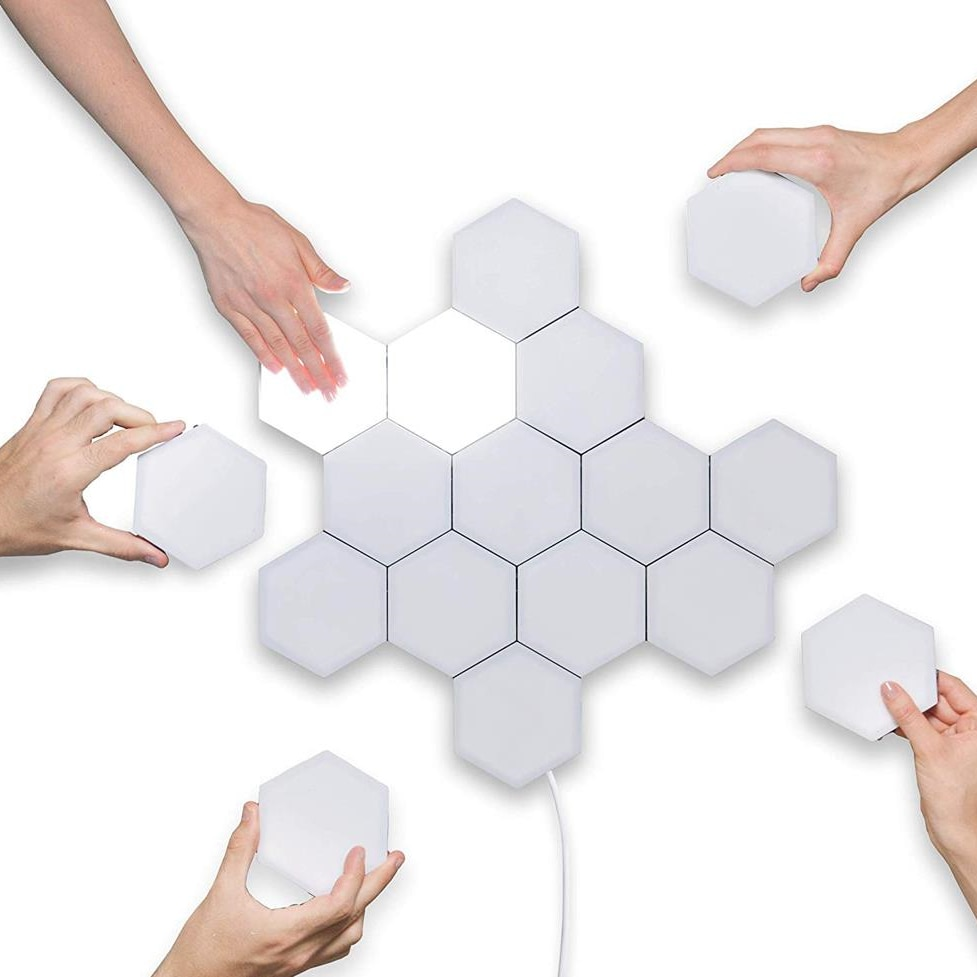 Quantum lamp led Hexagonal lamps modular touch sensitive lighting night light magnetic hexagons creative decoration wall lampara Shop