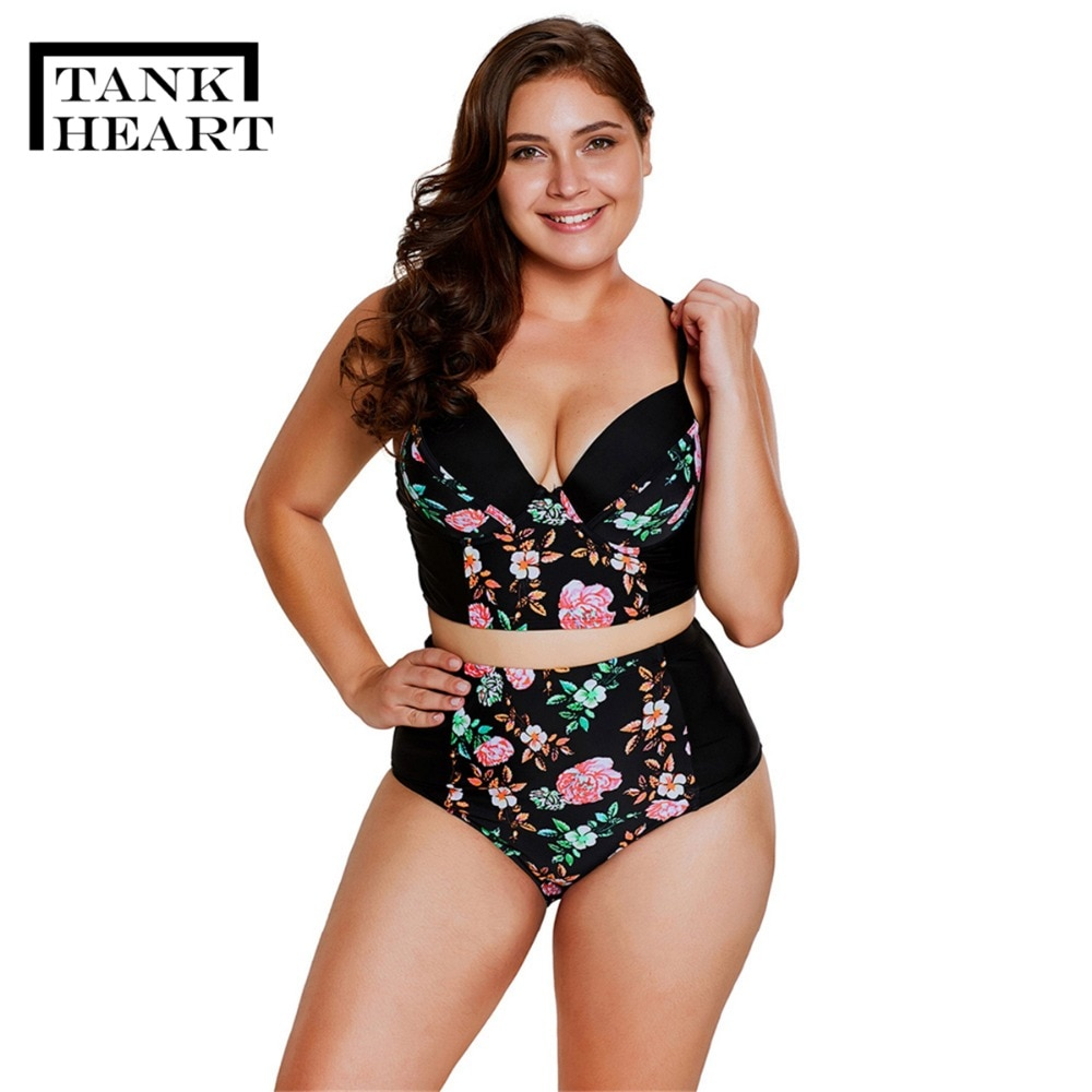 Tank Heart Sexy Print Swim Biquini Two Piece Swimsuit push up Tankini Plus Size Swimwear Women high Waist Bikini Brazilian XXXL Clothing Underwear & Exotic Apparel