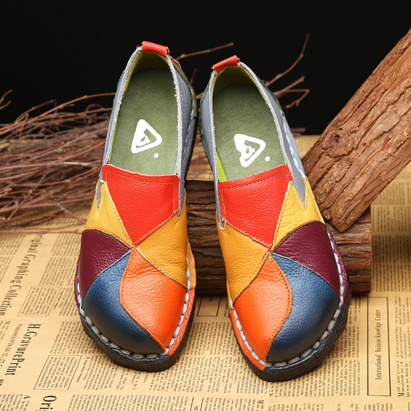 Designer Women Genuine Leather Loafers Mixed Colors Ladies Ballet Flats Shoes Female Spring Moccasins Casual Ballerina Shoes Shoes Women's Shoes
